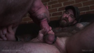 hairy daddy in dirty jockstrap gets his thick dick sucked