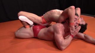 jocks in underwear & sneakers wrestle on the mats