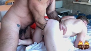 slim bottom takes his hunk's arm up to the elbow