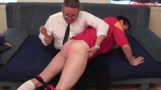 Soccer Lad Gets His Bare Bum Spanked with Hair Brush