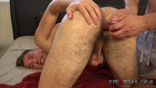 Handsome Straight Gets His Furry Ass Dildo Fucked & Doesn't Like It