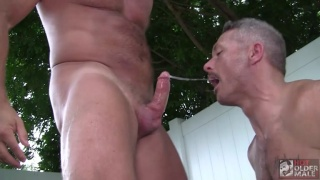 Daddy & Muscle Stud Have Piggy Sex on Lawn