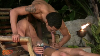 Two Horny Papis Sucking Dick at Night by the Pool
