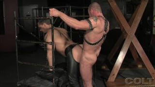 Leather men cage fuck