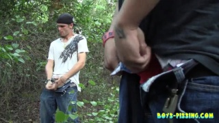 Straight Boys Piss and Jerk in the Woods
