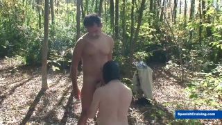 muscled stud gets sucked by masked man outdoors