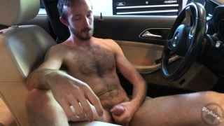 furry guy beating off in his car