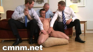 Straight man dominated, stripped naked and stroked