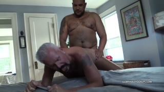 silver daddy gets his ass bred by big black cock