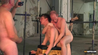 two twinks roughed up and fucked in industrial playroom