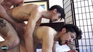 three guys get into some double-penetration fucking