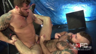 bearded men flip-fucking and one takes the others' load inside his ass