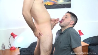 young lad unloads his balls in a daddy's mouth