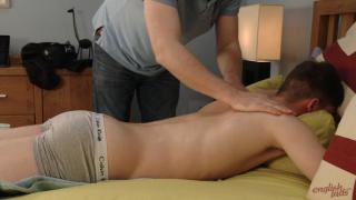 british lad gets a massage then his first handjob