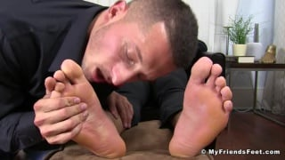 new waiter gets his feet massaged after a hard day
