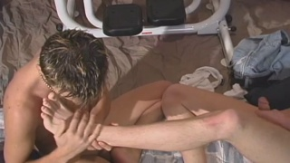 horny twinks strip naked & jack off on gym equipment