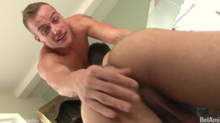 getting his dick suck, blond guy can't wait to get into this ass