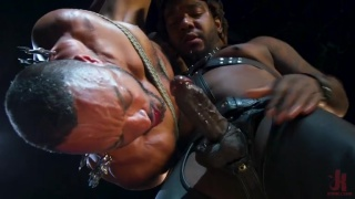 two black men playing hard in the dungeon