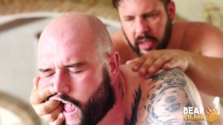 bald bear man gets his hole stuffed by bearded daddy