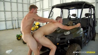 stud gets fucked bending over his quad in the garage