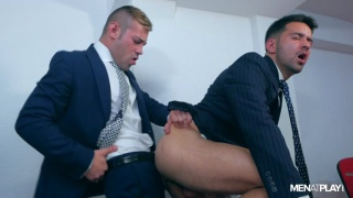 office boy rides executive's big cock on his desk