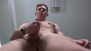 blond stud with chest tattoo & furry patch jerking off