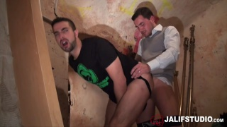 horny guys meet in a basement for a fuck