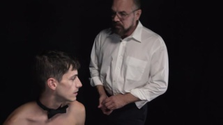 young slave boy services his master's super fat dick