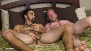 horny bearded men jack off together before fucking