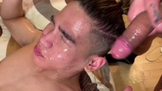 there was so much cum it blows out this cocksucker's nose
