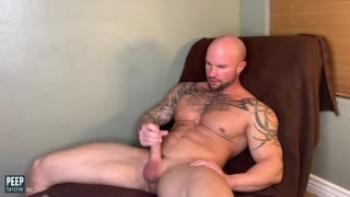 Handsome Hairy Bald Hunk Strokes His Hard-on