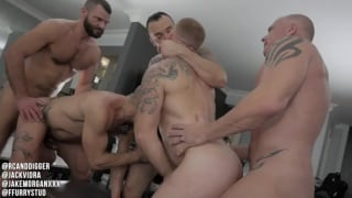raw group scene with five hot men