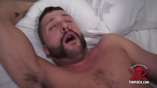 handsome bearded bottom gets his ass stuffed with big dick