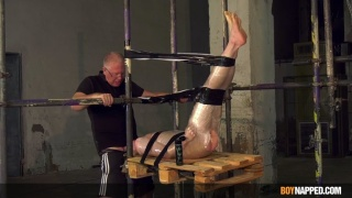 Slave Boy Wrapped in Plastic & Duct Tape Gets Throat Fucked