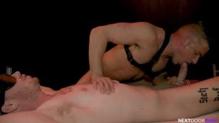Stud Ties Bottom to Bed & Dominates Him