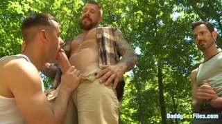 Guy Sucks Huge Cock While his Straight Buddies Look On