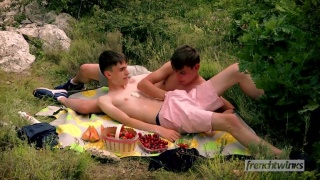 Horny French Twinks on Picnic Don't Know Their Being Watched