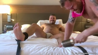 Bearded Man Tickles His Bound Muscle Bear Lover