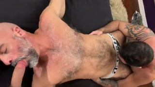 Three Hairy Italians Get Together and Fuck Bareback