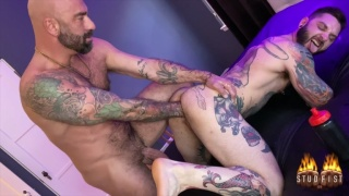Hung Daddy with 9-Inch Dick Fists Heavily Tattooed Guy