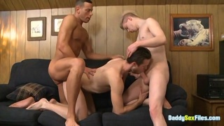 Young Lad Joins a Daddy Fucking Another Dude's Ass