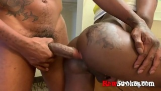 Black Stud Gets his Tattooed Bubble Butt Stuffed with Huge Cock