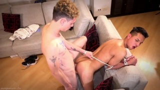 Rough Guy Ties Twink with Rope & Fucks Him