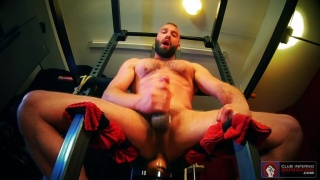 Bearded Daddy Sits on a Dildo & Jacks His Cock