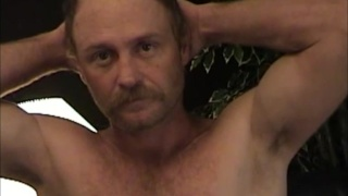 Bald Man with Mustache Jacks His Ample Cock