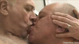 Two mature Silver Daddies make out