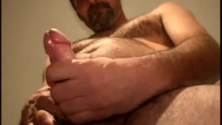 Hot rugged daddy stroking cock