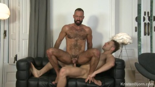 hairy hunk rides a Brazilian's big dick