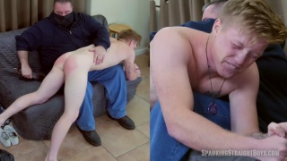 blond guy's tender ass turns bright red after spanking