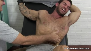 sexy scruffy-face muscle hunk gets tickled